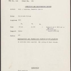 Image for K2087 - Condition and restoration record, circa 1950s-1960s