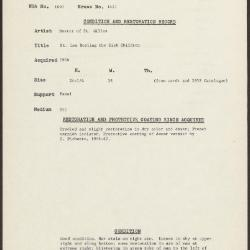 Image for K1421 - Condition and restoration record, circa 1950s-1960s