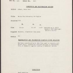 Image for K2117 - Condition and restoration record, circa 1950s-1960s