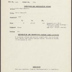 Image for K1924 - Condition and restoration record, circa 1950s-1960s