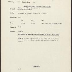 Image for K1245 - Condition and restoration record, circa 1950s-1960s