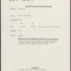 Image for K1644 - Condition and restoration record, circa 1950s-1960s