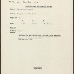 Image for K1259B - Condition and restoration record, circa 1950s-1960s