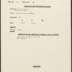 Image for K1249 - Condition and restoration record, circa 1950s-1960s