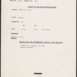 Image for K1651 - Condition and restoration record, circa 1950s-1960s