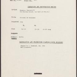 Image for K2131 - Condition and restoration record, circa 1950s-1960s