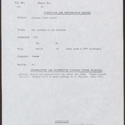 Image for K0031 - Condition and restoration record, circa 1950s-1960s