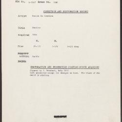 Image for K1980 - Condition and restoration record, circa 1950s-1960s