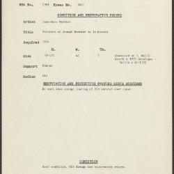 Image for K2041 - Condition and restoration record, circa 1950s-1960s