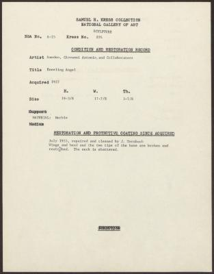Image for KSF04 - Condition and restoration record, circa 1950s-1960s