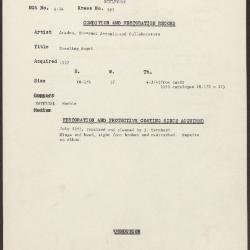 Image for KSF03 - Condition and restoration record, circa 1950s-1960s