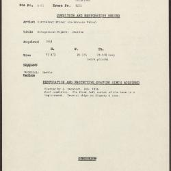 Image for K1256 - Condition and restoration record, circa 1950s-1960s