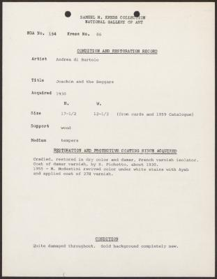 Image for K0086 - Condition and restoration record, circa 1950s-1960s