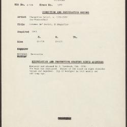 Image for K1277 - Condition and restoration record, circa 1950s-1960s