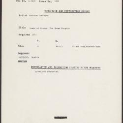 Image for K1841 - Condition and restoration record, circa 1950s-1960s