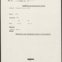 Image for K1381 - Condition and restoration record, circa 1950s-1960s
