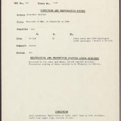 Image for K1395 - Condition and restoration record, circa 1950s-1960s