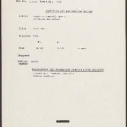 Image for K2058 - Condition and restoration record, circa 1950s-1960s