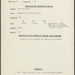 Image for K1855 - Condition and restoration record, circa 1950s-1960s