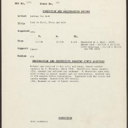 Image for K0227 - Condition and restoration record, circa 1950s-1960s