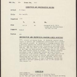 Image for K1413 - Condition and restoration record, circa 1950s-1960s