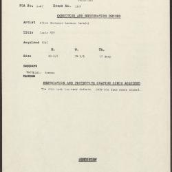 Image for K1257 - Condition and restoration record, circa 1950s-1960s