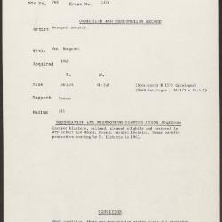 Image for K1335 - Condition and restoration record, circa 1950s-1960s
