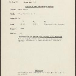 Image for K1438 - Condition and restoration record, circa 1950s-1960s