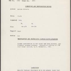 Image for K2061 - Condition and restoration record, circa 1950s-1960s