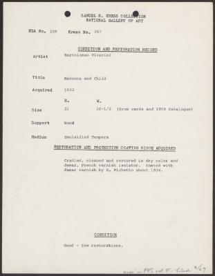 Image for K0247 - Condition and restoration record, circa 1950s-1960s