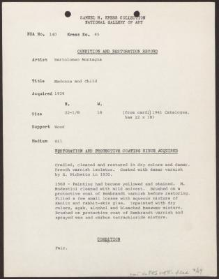 Image for K0045 - Condition and restoration record, circa 1950s-1960s