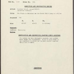 Image for K1254 - Condition and restoration record, circa 1950s-1960s