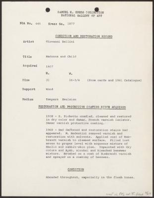 Image for K1077 - Condition and restoration record, circa 1950s-1960s