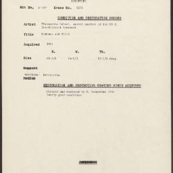 Image for K1278 - Condition and restoration record, circa 1950s-1960s