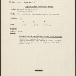 Image for K1573 - Condition and restoration record, circa 1950s-1960s