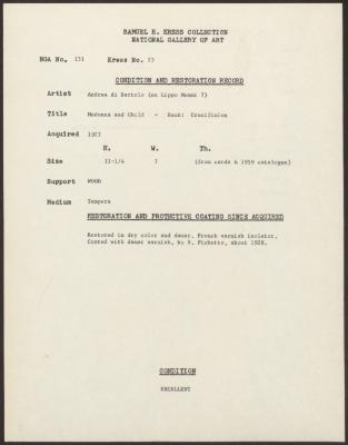 Image for K0023 - Condition and restoration record, circa 1950s-1960s