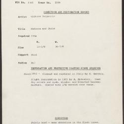 Image for K2044 - Condition and restoration record, circa 1950s-1960s