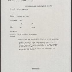 Image for K1676 - Condition and restoration record, circa 1950s-1960s