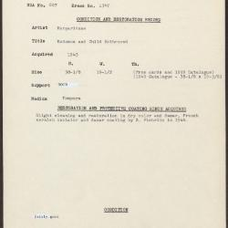 Image for K1347 - Condition and restoration record, circa 1950s-1960s
