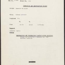 Image for K1976 - Condition and restoration record, circa 1950s-1960s