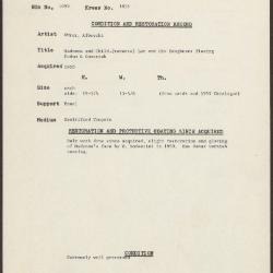 Image for K1835 - Condition and restoration record, circa 1950s-1960s
