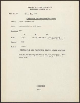 Image for K0241 - Condition and restoration record, circa 1950s-1960s