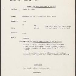 Image for K1383 - Condition and restoration record, circa 1950s-1960s
