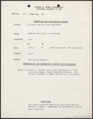 Image for K0479 - Condition and restoration record, circa 1950s-1960s