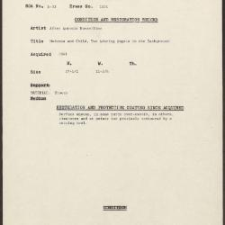 Image for K1251 - Condition and restoration record, circa 1950s-1960s