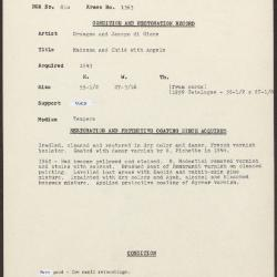 Image for K1363 - Condition and restoration record, circa 1950s-1960s