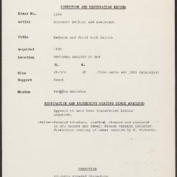 Image for K1244 - Condition and restoration record, circa 1950s-1960s