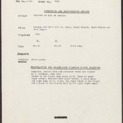 Image for K1386 - Condition and restoration record, circa 1950s-1960s