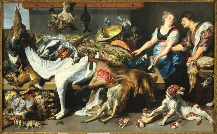 Image for Larder with a Servant, a Cook, a Spaniel, and her Pups [Game Stall at Market]