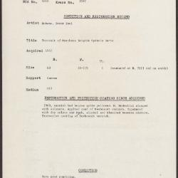 Image for K2187 - Condition and restoration record, circa 1950s-1960s